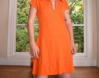 Orange Medieval Lace Up Mini Dress