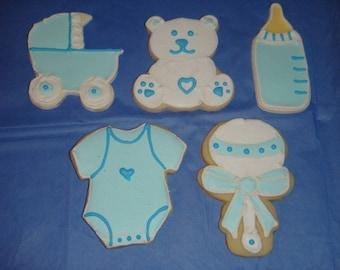 1 DZ  It's A Boy Baby Shower Favor Sugar Cookies