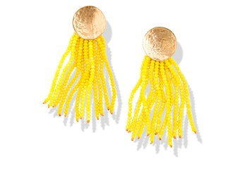 NEW Yellow Beaded Tassel Statement Earrings / sparkly crystal fringe / hammered gold circle posts / going out fashion for her