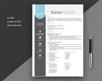 Resume Template Downloadable | Modern Resume Template / CV Template + Cover Letter | Teacher Resume | Word Resume | Instant Download