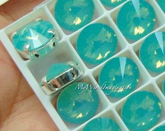 Pacific Opal, Swarovski Crystal 10mm Rivoli, Sew On Crystal, Rhinestone Sew On, Crystal Rhinestone Setting, Pacific Opal Green Blue