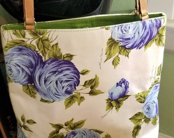 Kate Spade Flowered Purse, Blue Roses and Chartuese Interior