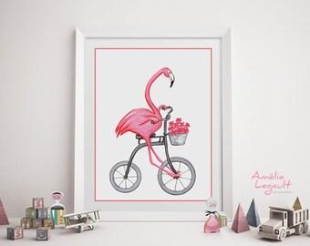 Affiche flamants roses à bicyclette, flamants roses à vélo, affiche pour enfant, 5 x 7, 8 x 10 et 11 x 14