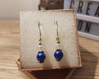 Sterling Silver Blue Faux Pearl Drop Earrings