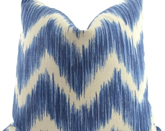 Blue & Off White Ikat Chevron Throw Pillow Cover, Ikat pillow cover, 19.5x19.5 Throw Pillow Cover, Accent Pillow Cover, Navy Chevron