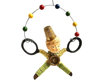 little JUGGLER (16), original art doll ornament, found object art, mixed media assemblage, by Elizabeth Rosen