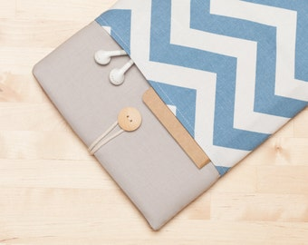 iPad case / iPad Pro sleeve / iPad cover / ipad air case / iPad Pro 10.5 sleeve  padded  - Blue chevron -