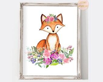 Fox Nursery Art, Watercolor Animals Wall Art, Woodland Nursery Art, Purple Nursery Decor, Instant Download Nursery Printable