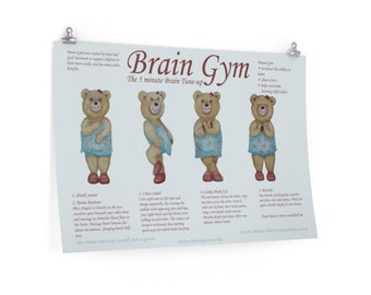 Brain Gym Poster With Yoga For Little Bears To Grow Emotional Intelligence Clear Stress And Improve Learning