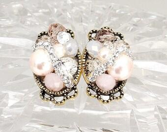 Blush Pink Earrings- Blush Bridal Studs- Light Pink Earrings- Blush Stud Earrings- Pink Bridal Earrings- Light Pink Studs- Clip Earrings