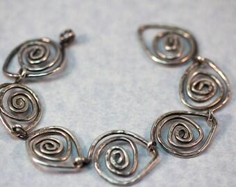 Sterling Silver Hand Forged Metal Bracelet
