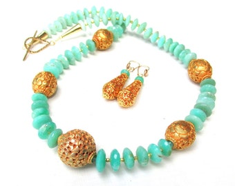 Natural Chrysoprase and 22k gp Beaded Necklace and Earring Set- Faceted Vivid Green Chrysoprase
