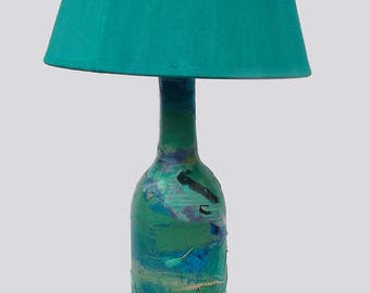 Turquoise Accent Lamp, hand-painted, surreal landscape, dreamy, upcycled bottle, unique gift, FREE shipping