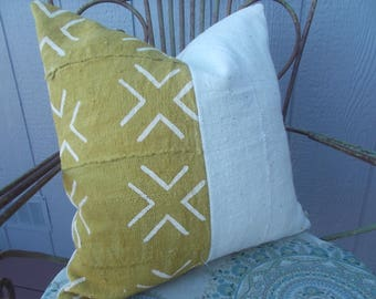 African mudcloth  Mustard yellow off white crosses  mud cloth pillow cover
