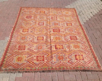 "7'9"" x 6'1"" Geometric pattern Kilim rug, Vintage Turkish kilim rug, area rug, kilim rug, vintage rug, rug embroidered rug, Turkish rug, 086"