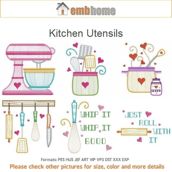 Wonderful Kitchen Utensils Cooking Tools Machine Embroidery Designs Instant Download  4x4 5x5 6x6 Hoop 12 Designs APE2062
