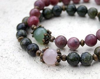 Set 2 Meditation Yoga Mala Bracelets Rhodonite and Serpentine