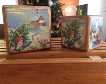 VICTORIAN wooden picture blocks with winter themed pictures,antique / vintage