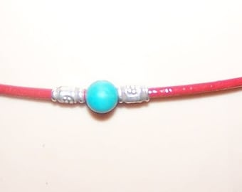 Red Leather Turquoise and Karen bead Bracelet Made-to-Order