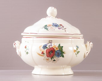 Sarreguemines Soup Tureen   Ironstone Tureen   French Country style Tureen   Agreste design   Floral decor   Apple shaped grip  