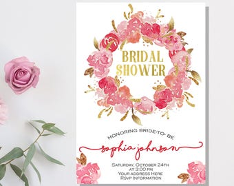 Floral Bridal Shower Invitation Pink and gold bridal shower invites Flowers Bridal Invites Bridal shower Bridal brunch hot pink gold foil