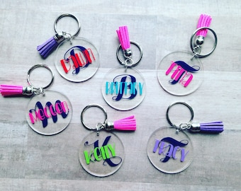 "2"" Personalized Acrylic Key Chain/Backpack Tag"