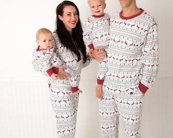 Holiday Family Matching Pajamas Red & Green Nordic | Matching set | Christmas Jammies | Holiday PJs | Adult | Men | Women | Kids | Baby