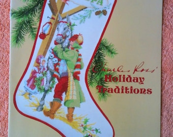 Christmas Stocking Cross Stitch Chart Charles Ross Holiday Traditions Time For Sleigh Rides Leaflet HS 502L 1986