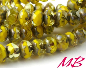 8x6mm Light Opaque Yellow with Jonquil, Faceted Picasso Rondelle, 15 pcs Czech Glass, Puffy Donut Beads