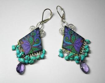 Polymer Clay Millefiori Gemstone Fringe Earrings-amethyst-sleeping beauty turquoise-sterling silver