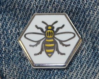 Manchester Bee Enamel Pin Badge - Hard Enamel Nickel Free Metal Brooch - Cute Worker Bee Hexagon Black and Yellow Punk