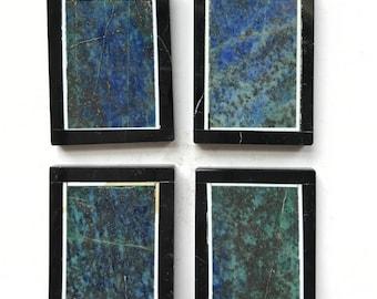 Beautiful Unique 4 Pieces Chrysocolla Lapis and Black Onyx Frame Intarsia pendant bead BD9S419