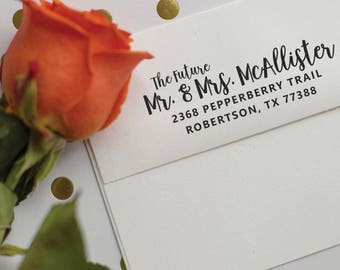 Wedding Address Stamp - Save the Date calligraphy address stamp - Future Mr. and Mrs. - rubber stamp - Custom Wedding Stamp - McAllister