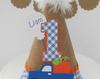 Little Blue Truck - Burlap, Pumpkin, Fall Birthday Party Hat - Blue Gingham, Orange, Blue Personalized