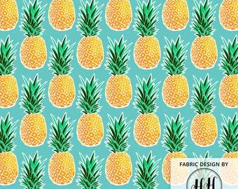 Ananas tropical tissu au mètre - impression Turquoise Bleu vert ananas hawaïen géométrique en Cour & Fat Quarter