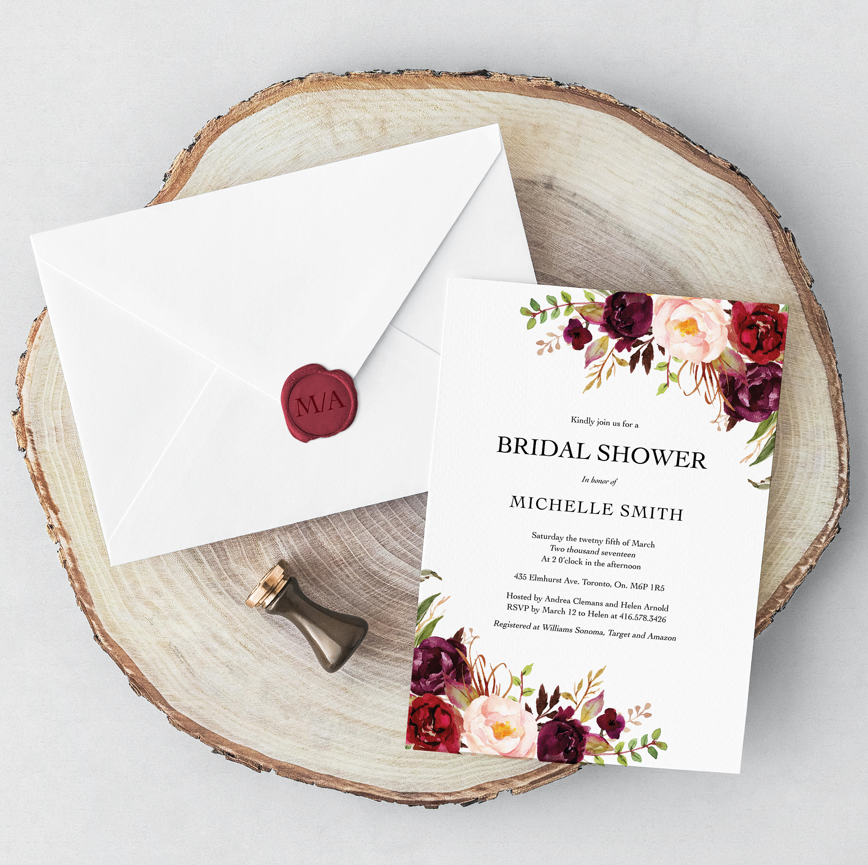 Bridal Shower Invitation Modern Boho Traditional