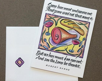 Scottish Blessing Note Card - Hand Lettering & Design by Ruth Pettis - Bright Cheerful - Robert Burns quotation