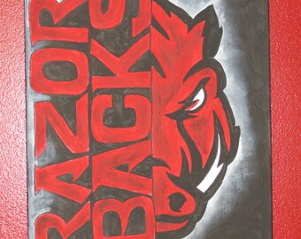 New Design! Officially Licensed Arkansas Razorback Painting- FREE SHIPPING!