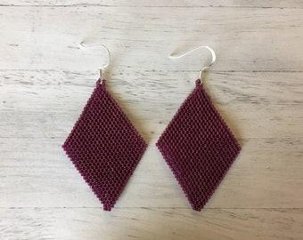 Purple Earrings Beaded Earrings Geometric Earrings Seed Bead Earrings Dangle Earrings Statement Earrings Chandelier Earrings