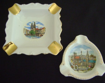 Vintage Souvenir Ashtrays from Zurich and Munchen