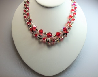 Vintage Sparkling Red and Smoke Gray Aurora Borealis Glass Bead Double Strand Necklace with Gold Tone Red Rhinestone Clasp