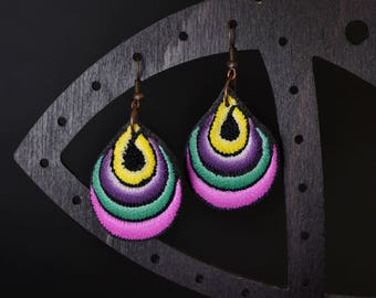 Teardrop textured yellow purple green pink black white polymer clay earrings