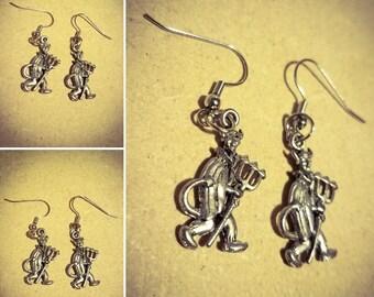Devil earrings, silver earrings, devil charms