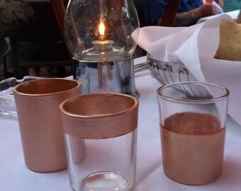 12 ROSE GOLD Metallic Metal Votive Candle Tea Light Holders Wedding Party Favors Table Decoration Centerpiece Decor Reception Tealight
