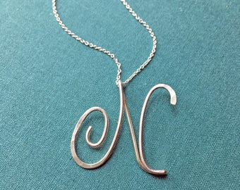 Large Calligraphy Initial Necklace in sterling silver, wedding, bridal party, bridesmaid, graduation gift-LA9720-SS