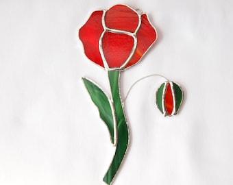 Stained Glass Poppy Flower Suncatcher