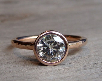 Moissanite Engagement Ring - Forever One G-H-I - Recycled 14k Rose Gold, Hammered, Eco-Friendly, Diamond Alternative - Made to Order