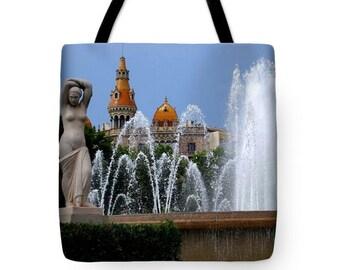 Barcelona Tote Bag, Grocery Tote Bag, Farmers market, Summer Tote Bag, Fountain Tote Bag, Spain Tote Bag