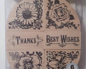 Inkakinkado Flower Oval Wood Stamp Set