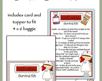 Get Well Survival Kit includes Topper and Card - Digital Printable - Immediate Download